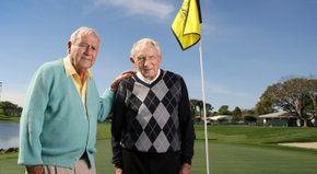 Longtime buddies Arnold Palmer and Dow Finsterwald share a story from their past, with a chuckle or two mixed in.